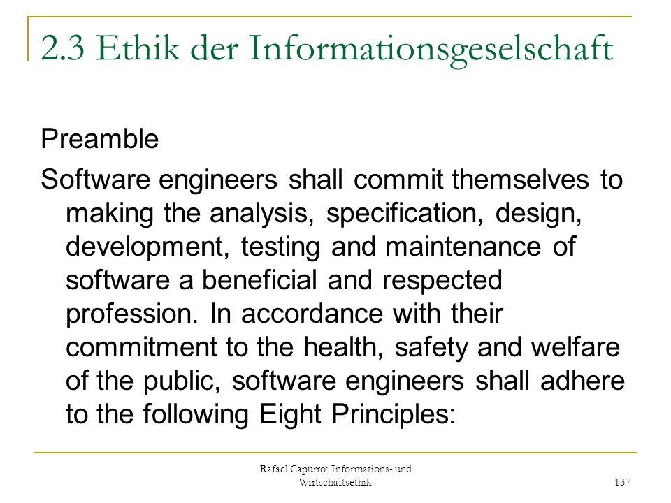 2.3 Ethik der Informationsgeselschaft