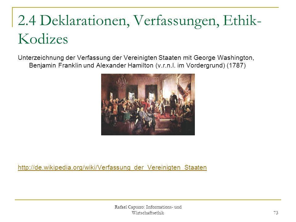 2.4 Deklarationen, Verfassungen, Ethik-Kodizes
