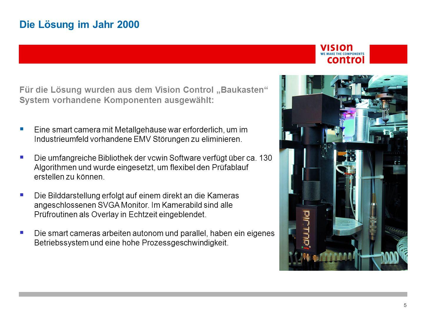"""Die Lösung im Jahr 2000 Für die Lösung wurden aus dem Vision Control """"Baukasten System vorhandene Komponenten ausgewählt:"""
