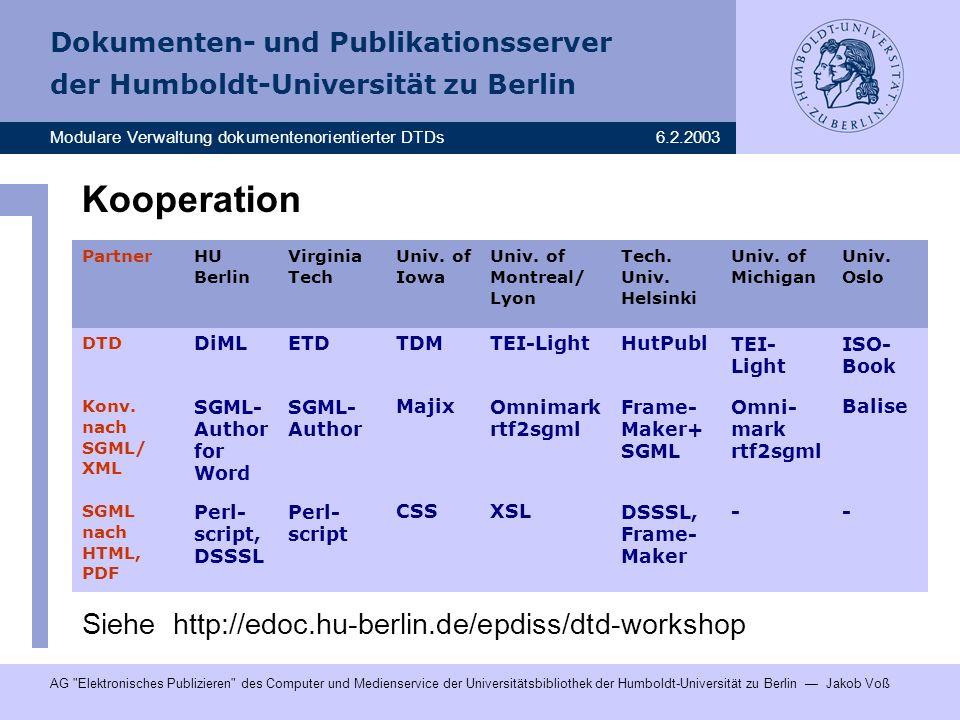 Kooperation Siehe http://edoc.hu-berlin.de/epdiss/dtd-workshop DiML