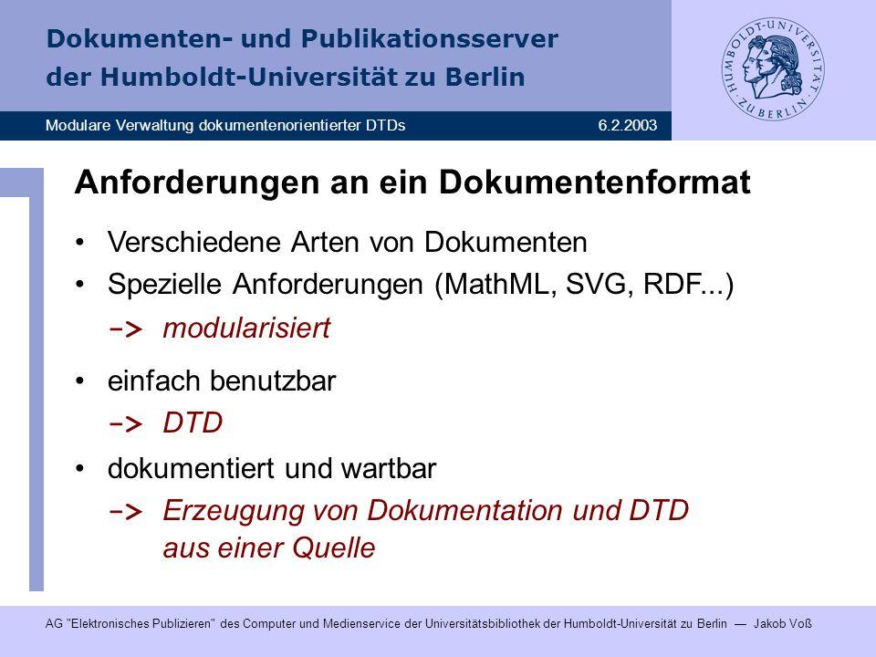 Anforderungen an ein Dokumentenformat