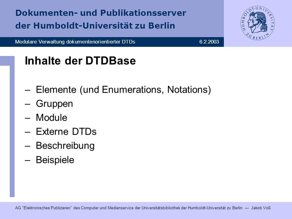 Inhalte der DTDBase Elemente (und Enumerations, Notations) Gruppen