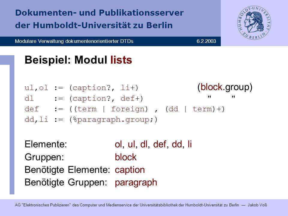 Beispiel: Modul lists Elemente: ol, ul, dl, def, dd, li Gruppen: block