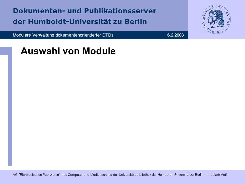 Auswahl von Module DTD wird generiert, gleichzeitig kann Dokumentation generiert werden