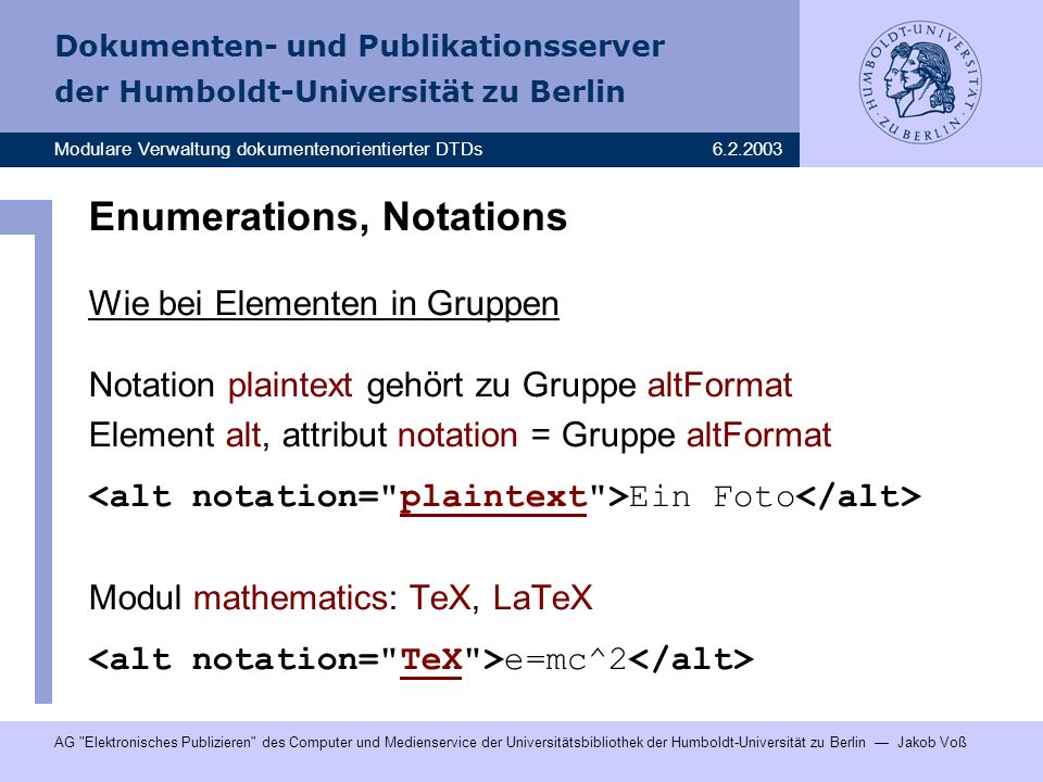 Enumerations, Notations