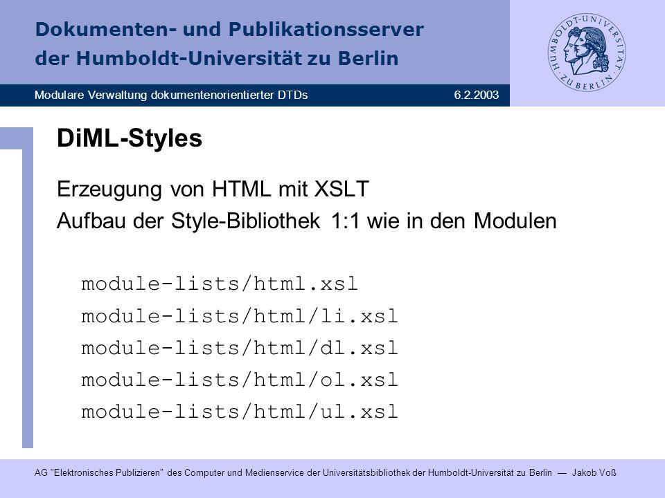 DiML-Styles Erzeugung von HTML mit XSLT