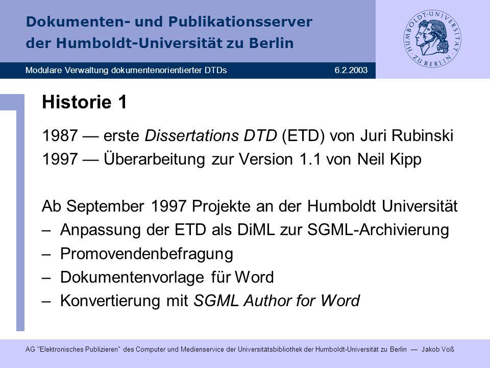 Historie 1 1987 — erste Dissertations DTD (ETD) von Juri Rubinski