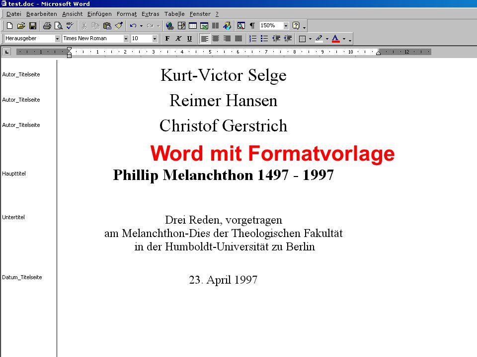 Word mit Formatvorlage