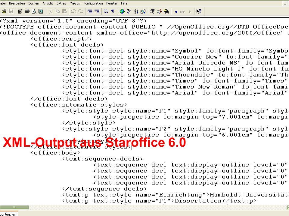 XML-Output aus Staroffice 6.0