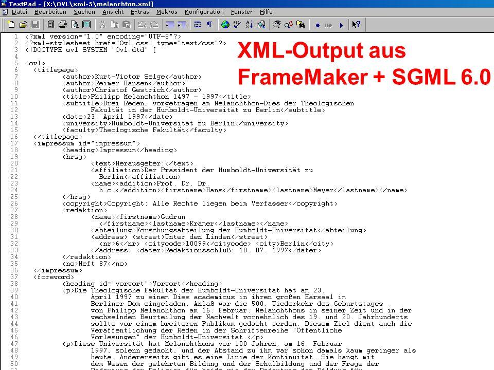 XML-Output aus FrameMaker + SGML 6.0