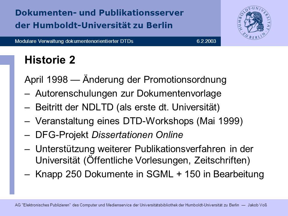 Historie 2 April 1998 — Änderung der Promotionsordnung