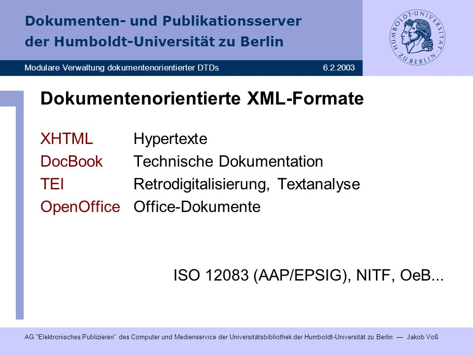 Dokumentenorientierte XML-Formate
