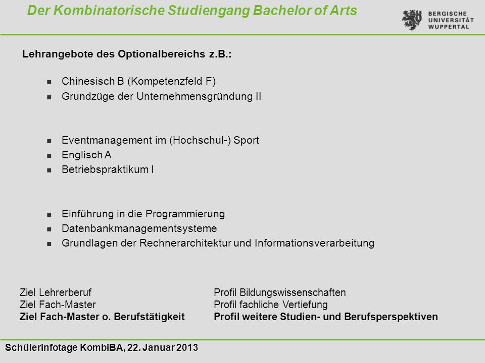 Der Kombinatorische Studiengang Bachelor of Arts
