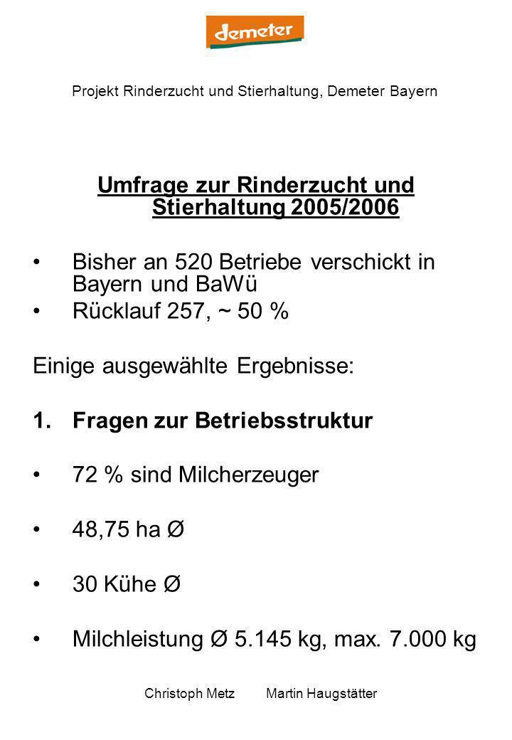 Umfrage zur Rinderzucht und Stierhaltung 2005/2006