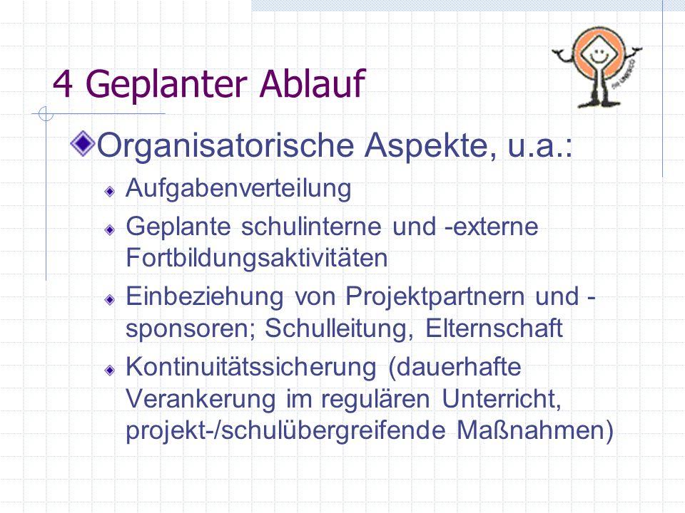 4 Geplanter Ablauf Organisatorische Aspekte, u.a.: Aufgabenverteilung