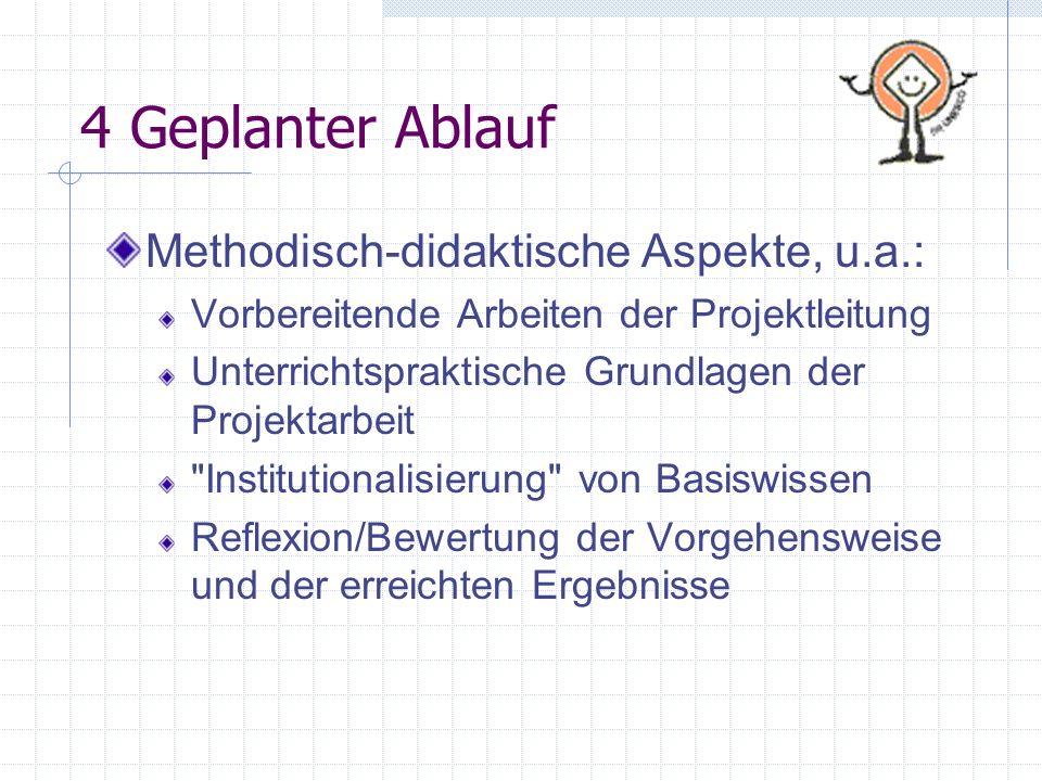 4 Geplanter Ablauf Methodisch-didaktische Aspekte, u.a.: