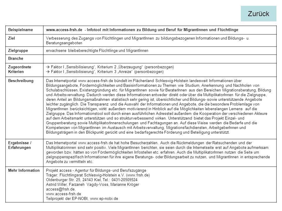 Zurück Beispielname. www.access-frsh.de - Infotool mit Informationen zu Bildung und Beruf für MigrantInnen und Flüchtlinge.