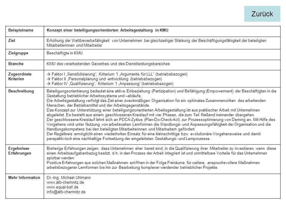 Zurück Beispielname. Konzept einer beteiligungsorientierten Arbeitsgestaltung in KMU. Ziel.