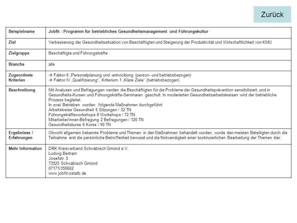 Zurück Beispielname. Jobfit - Programm für betriebliches Gesundheitsmanagement und Führungskultur.