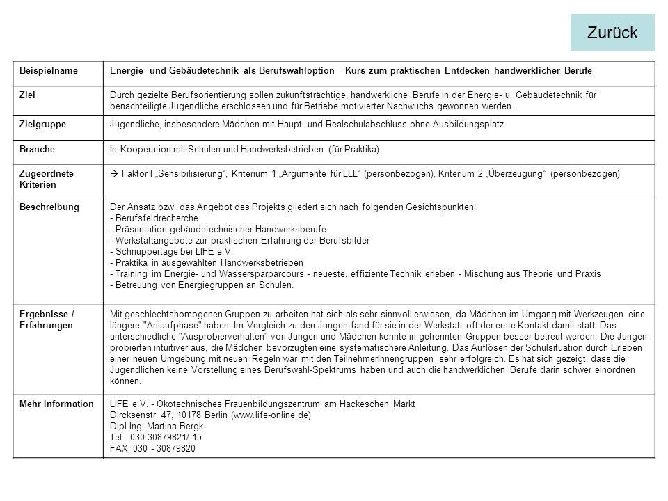 Zurück Beispielname. Energie- und Gebäudetechnik als Berufswahloption - Kurs zum praktischen Entdecken handwerklicher Berufe.