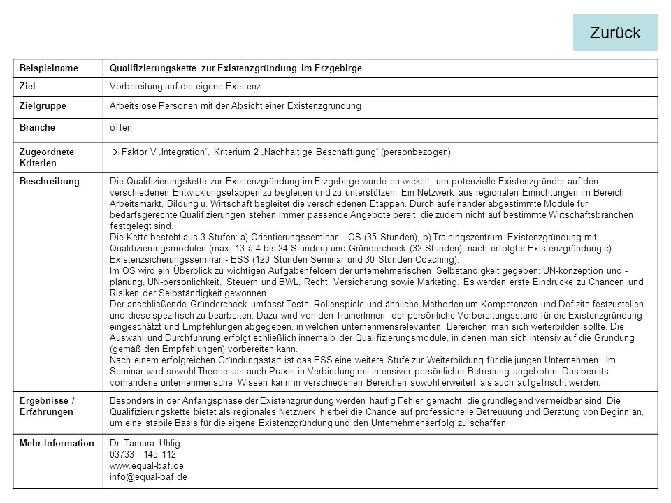 Zurück Beispielname. Qualifizierungskette zur Existenzgründung im Erzgebirge. Ziel. Vorbereitung auf die eigene Existenz.
