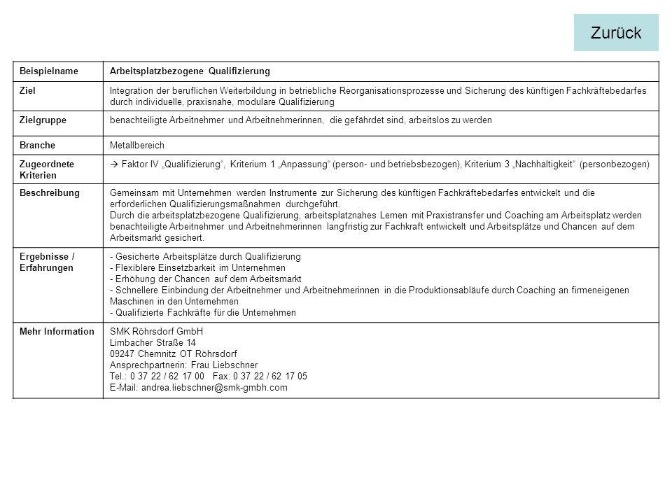 Zurück Beispielname Arbeitsplatzbezogene Qualifizierung Ziel