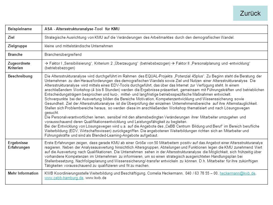Zurück Beispielname ASA - Altersstrukturanalyse-Tool für KMU Ziel