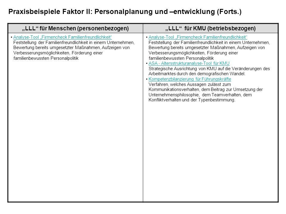 """""""LLL für Menschen (personenbezogen) """"LLL für KMU (betriebsbezogen)"""