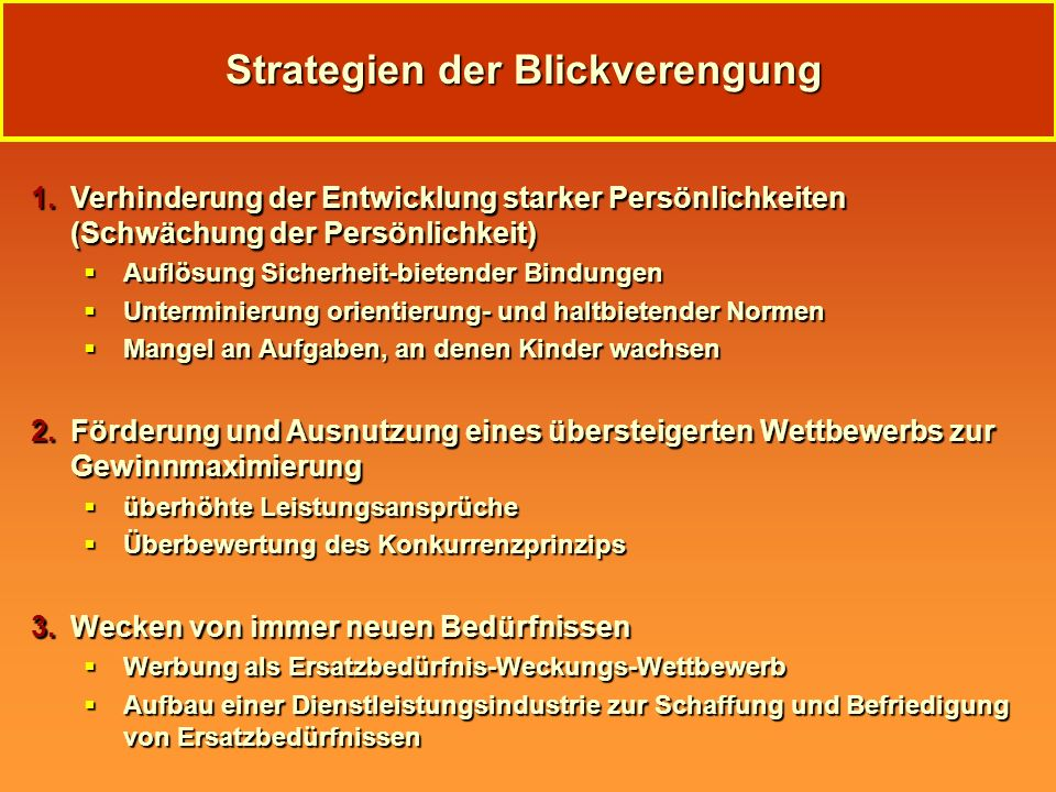 Strategien der Blickverengung