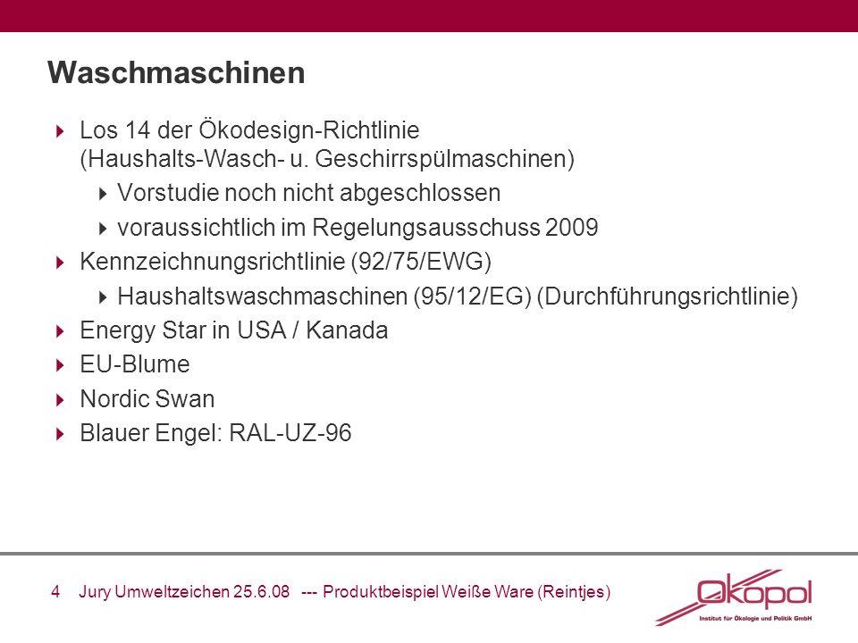 Waschmaschinen Los 14 der Ökodesign-Richtlinie (Haushalts-Wasch- u. Geschirrspülmaschinen) Vorstudie noch nicht abgeschlossen.