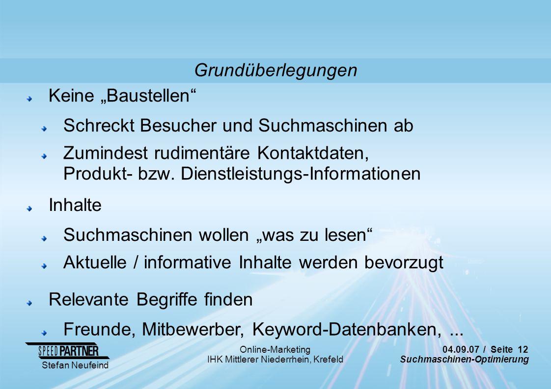 """Grundüberlegungen Keine """"Baustellen Schreckt Besucher und Suchmaschinen ab."""
