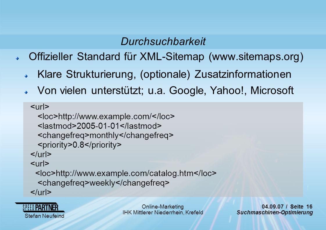 Offizieller Standard für XML-Sitemap (www.sitemaps.org)
