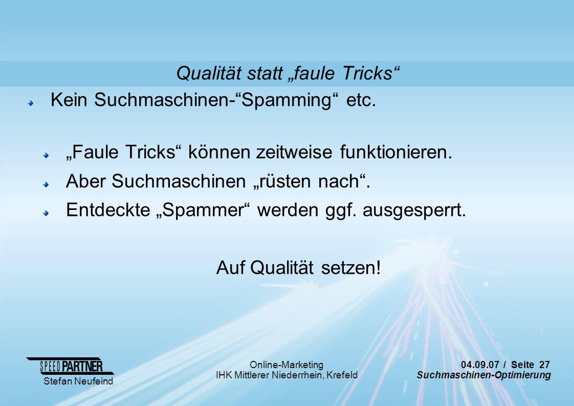 "Qualität statt ""faule Tricks"