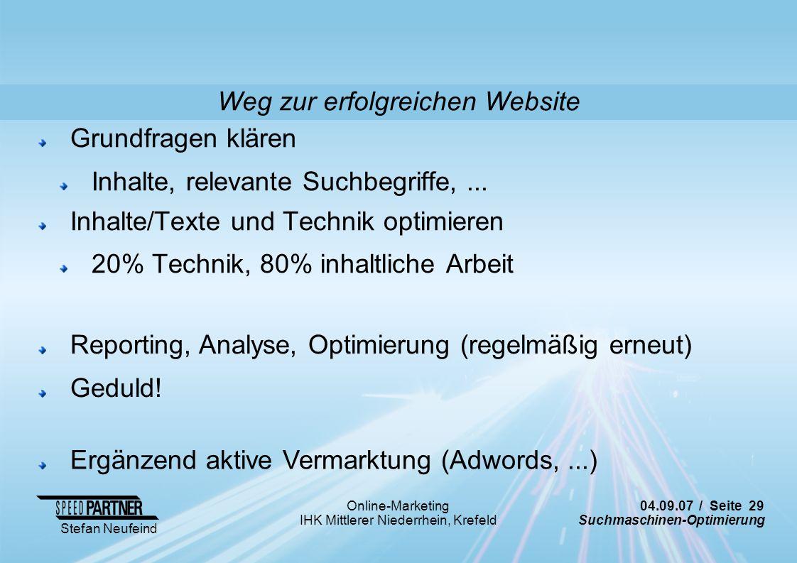 Weg zur erfolgreichen Website