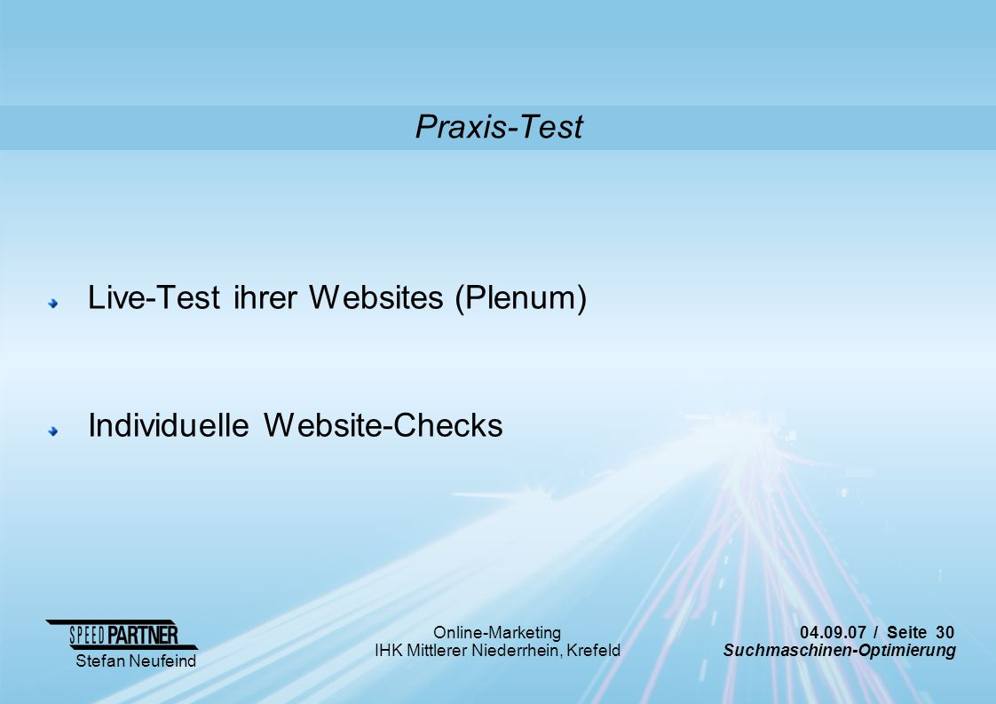 Praxis-Test Live-Test ihrer Websites (Plenum) Individuelle Website-Checks