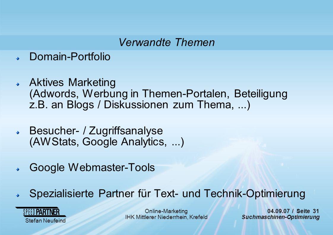 Verwandte Themen Domain-Portfolio.