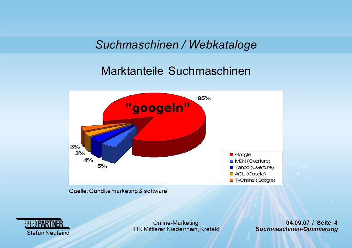 Suchmaschinen / Webkataloge