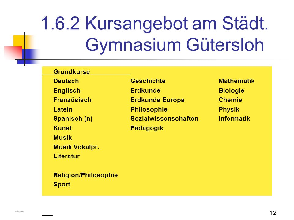 1.6.2 Kursangebot am Städt. Gymnasium Gütersloh