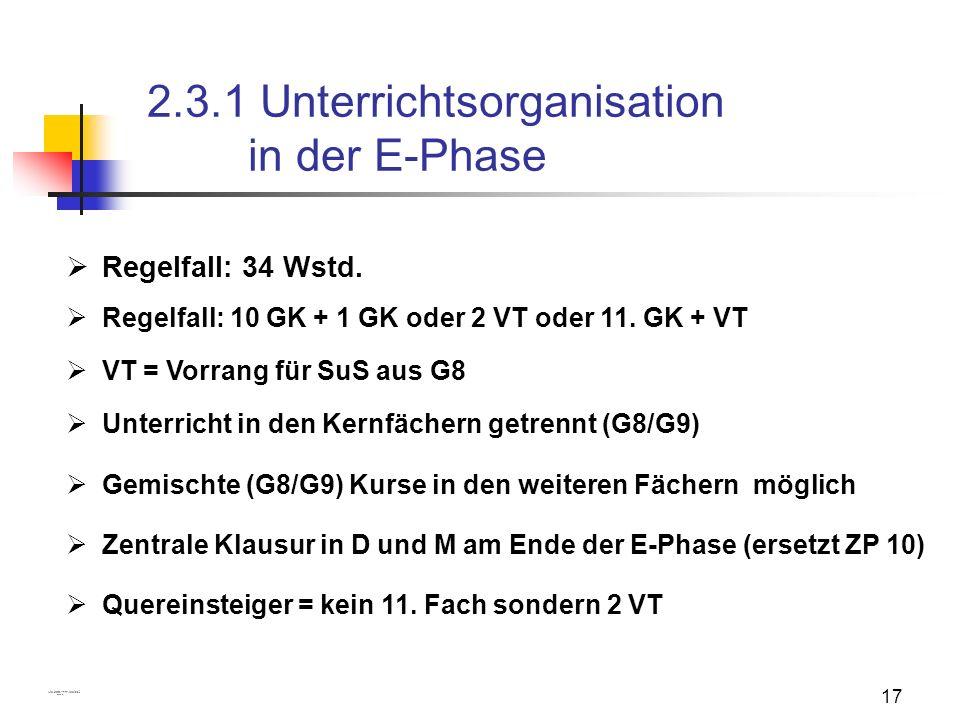2.3.1 Unterrichtsorganisation in der E-Phase