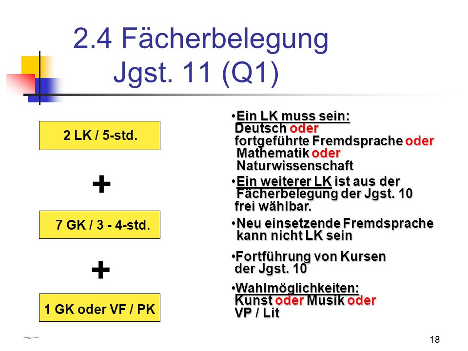 2.4 Fächerbelegung Jgst. 11 (Q1)