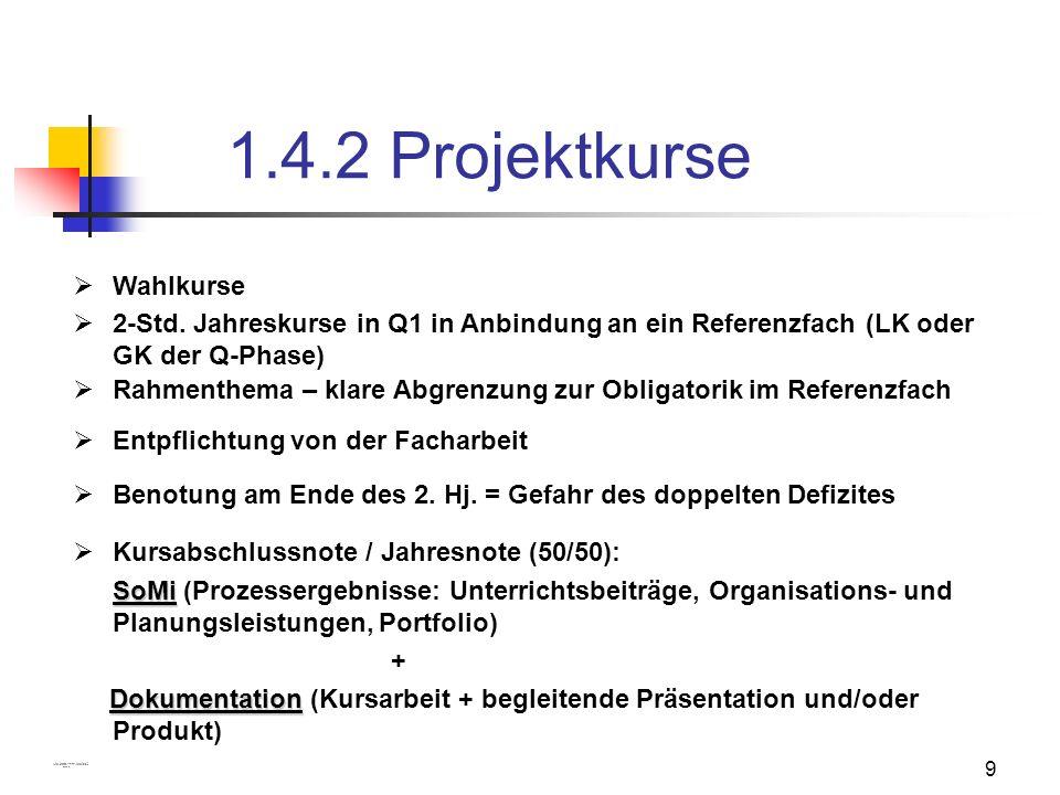 1.4.2 Projektkurse Wahlkurse