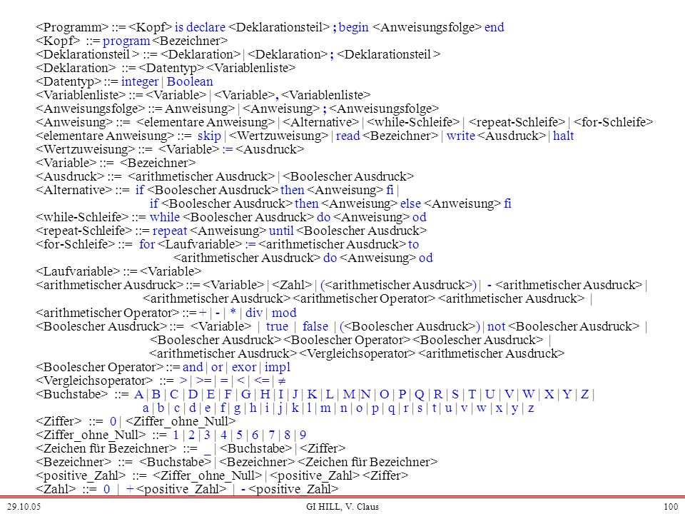 <Kopf> ::= program <Bezeichner>