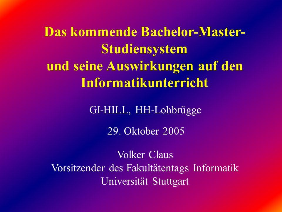 Das kommende Bachelor-Master-Studiensystem