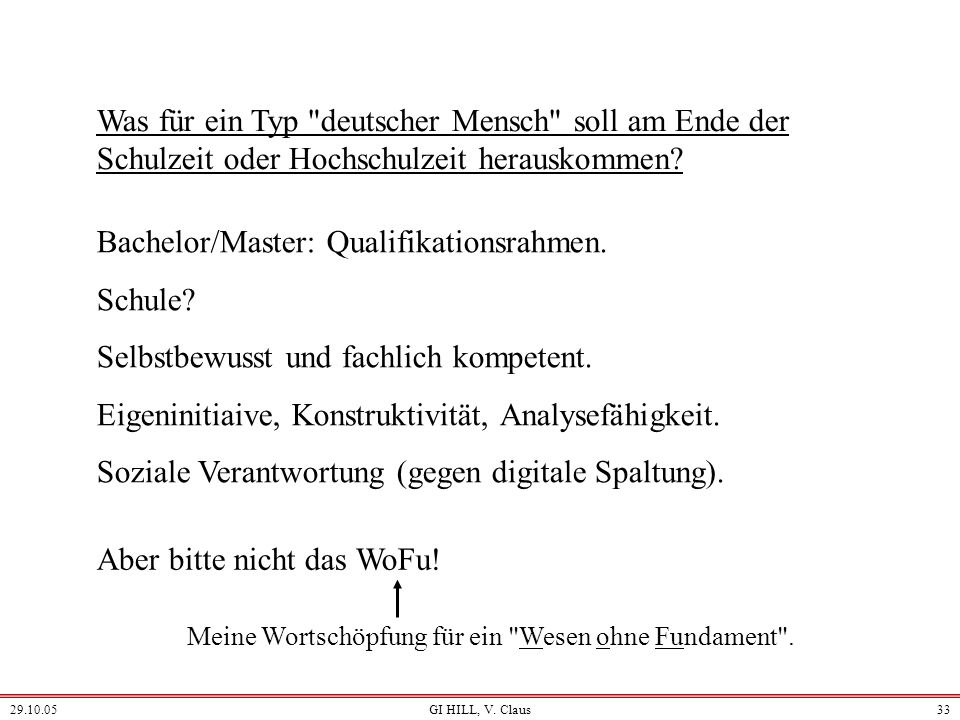 Bachelor/Master: Qualifikationsrahmen. Schule