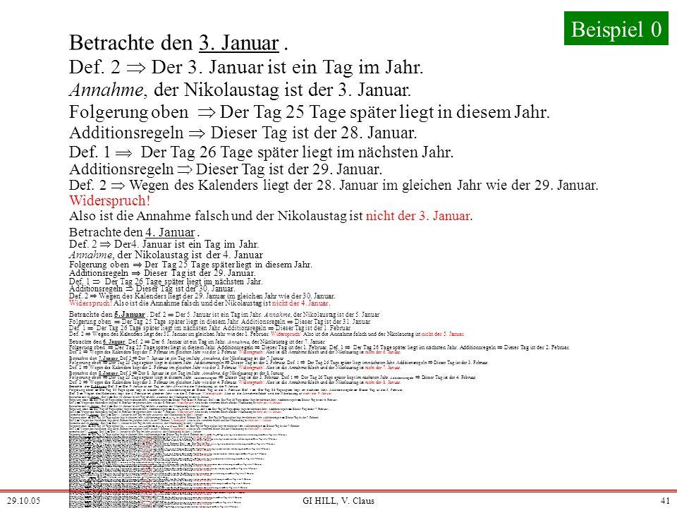 Beispiel 0 Betrachte den 3. Januar .