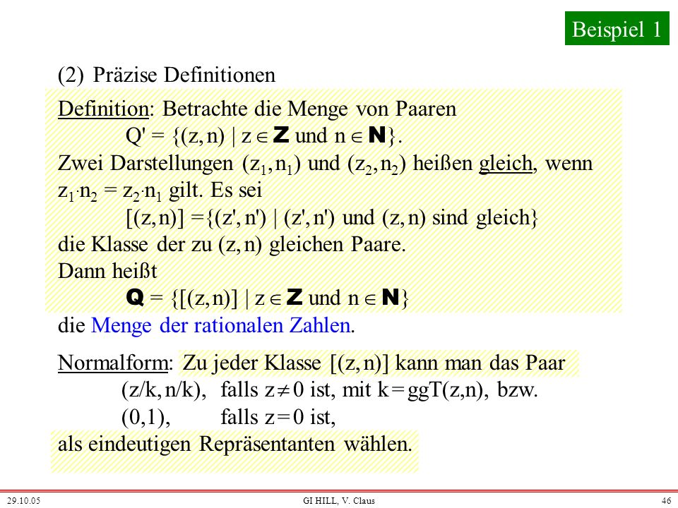(2) Präzise Definitionen