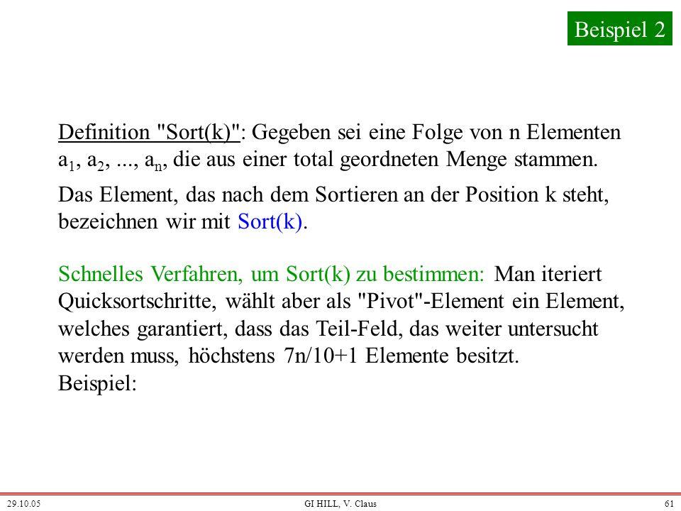 Beispiel 2 Definition Sort(k) : Gegeben sei eine Folge von n Elementen a1, a2, ..., an, die aus einer total geordneten Menge stammen.