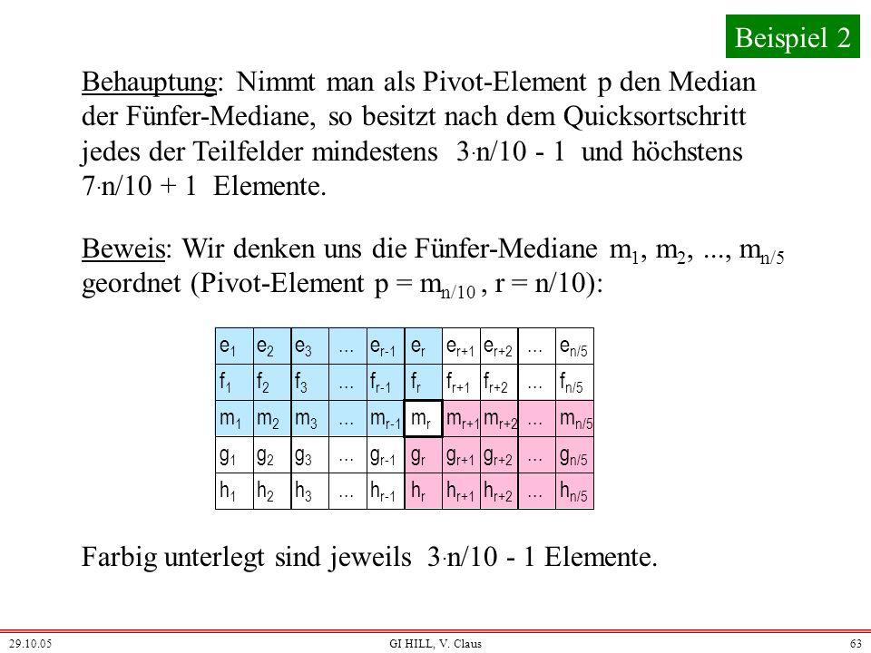 Farbig unterlegt sind jeweils 3.n/10 - 1 Elemente.
