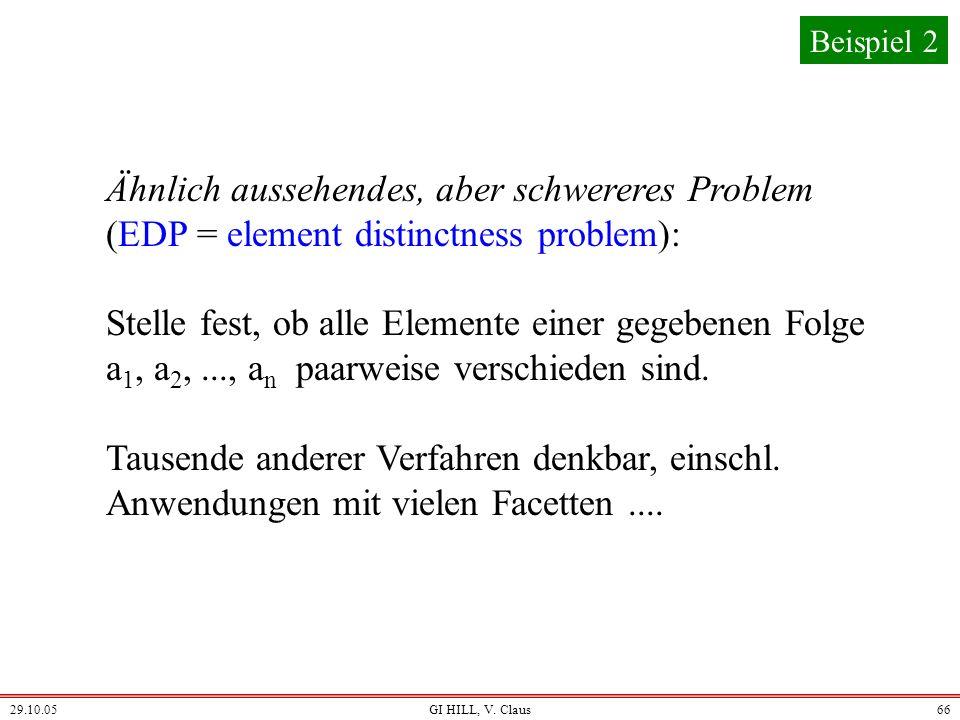 Beispiel 2 Ähnlich aussehendes, aber schwereres Problem (EDP = element distinctness problem):