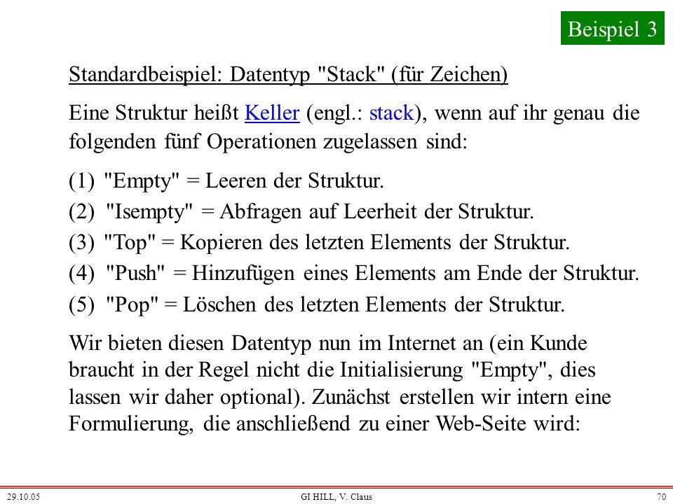 Standardbeispiel: Datentyp Stack (für Zeichen)